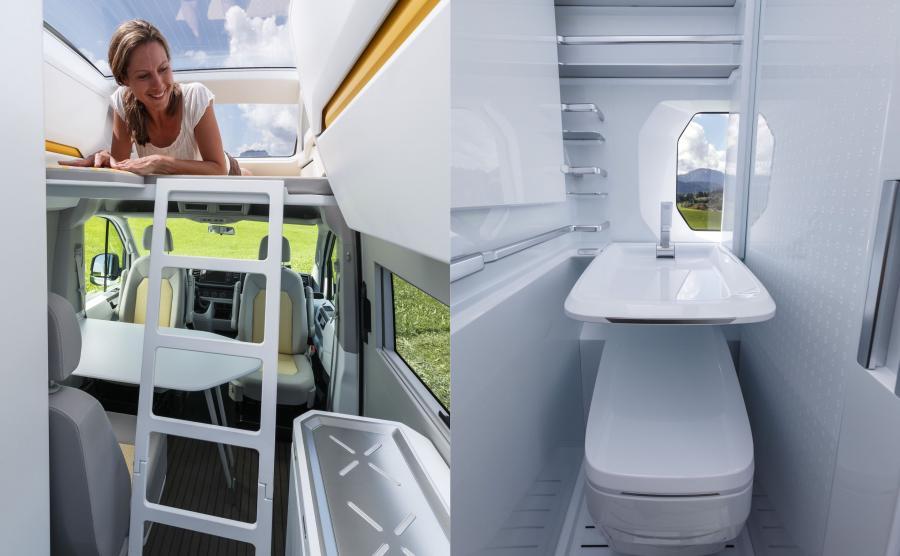 Kuchnia została wyposażona w kuchenkę dwupalnikową, lodówkę, umywalkę i powierzchnię roboczą, którą można łatwo przedłużyć. Dzięki dużym rozmiarom Californii XXL udało się wygospodarować miejsce na komfortowe pomieszczenie z prysznicem i toaletą