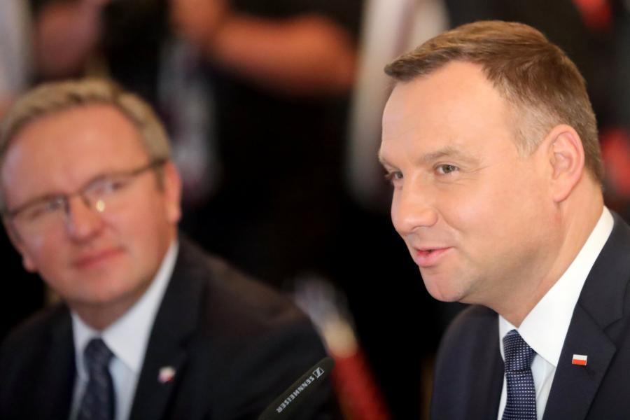 Prezydent Andrzej Duda i Krzysztof Szczerski podczas spotkania prezydentów na Malcie