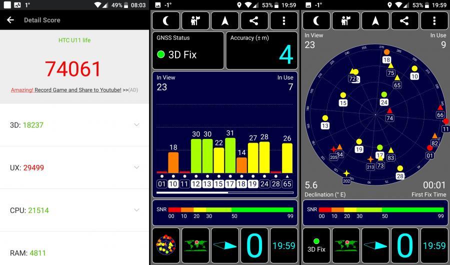 HTC U11 Life - AnTuTu Benchmark, GPS