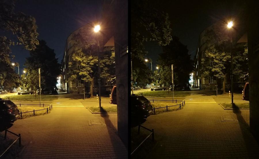 LG V30. Z lewej zdjęcie w trybie jasnym, z prawej - normalne