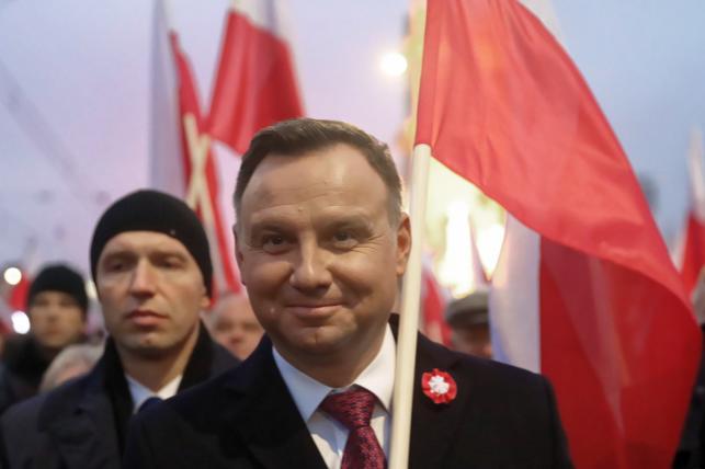 Prezydent Andrzej Duda na marszu