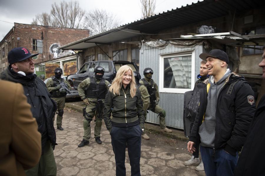 Małgorzata Kożuchowska na planie filmu \