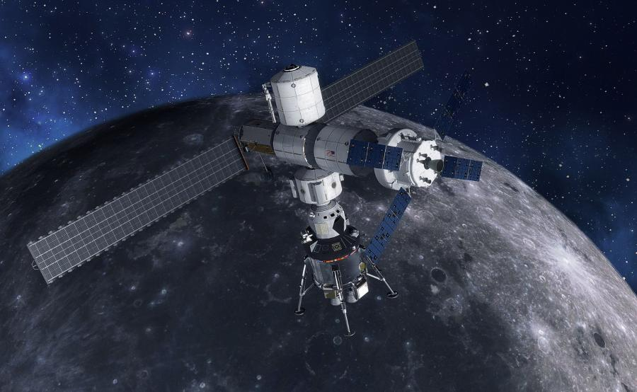 Stacja Lunar Gateway z lądownikiem