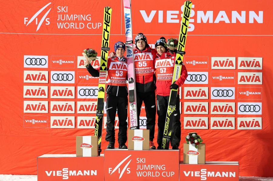 Stefan Kraft, David Kubacki i Kamil Stoch