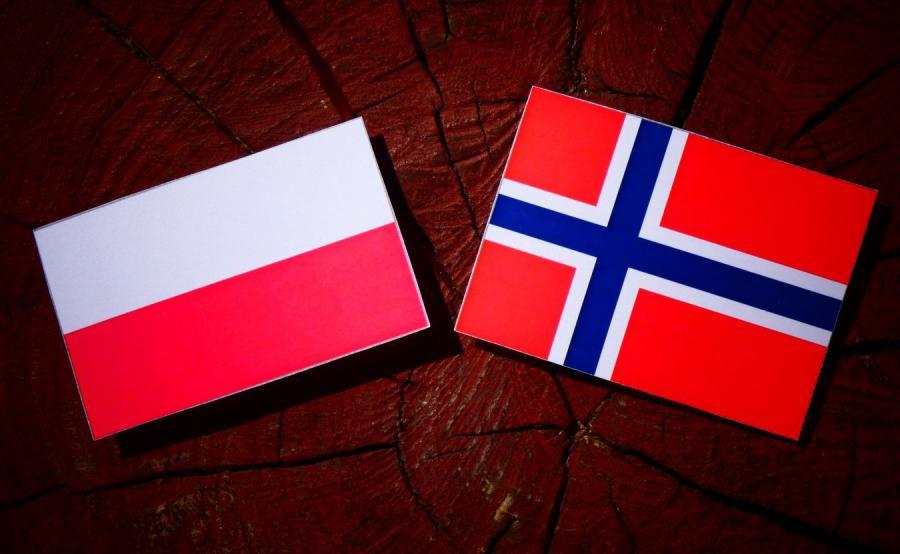 Flagi Polski i Norwegii