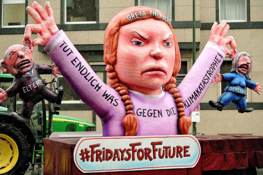 Karykatura szwdzkiej aktywistki klimatycznej Grety Thunberg