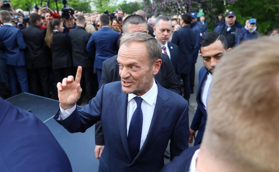 Szef Rady Europejskiej Donald Tusk po wykładzie \