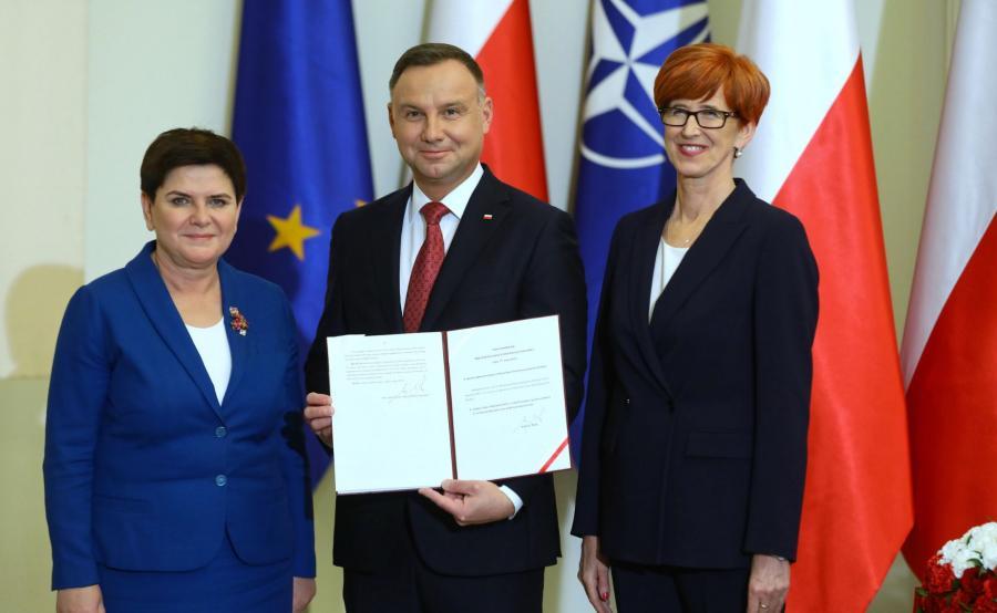 prezydent Andrzej Duda, wicepremier Beata Szydło, minister Elżbieta Rafalska