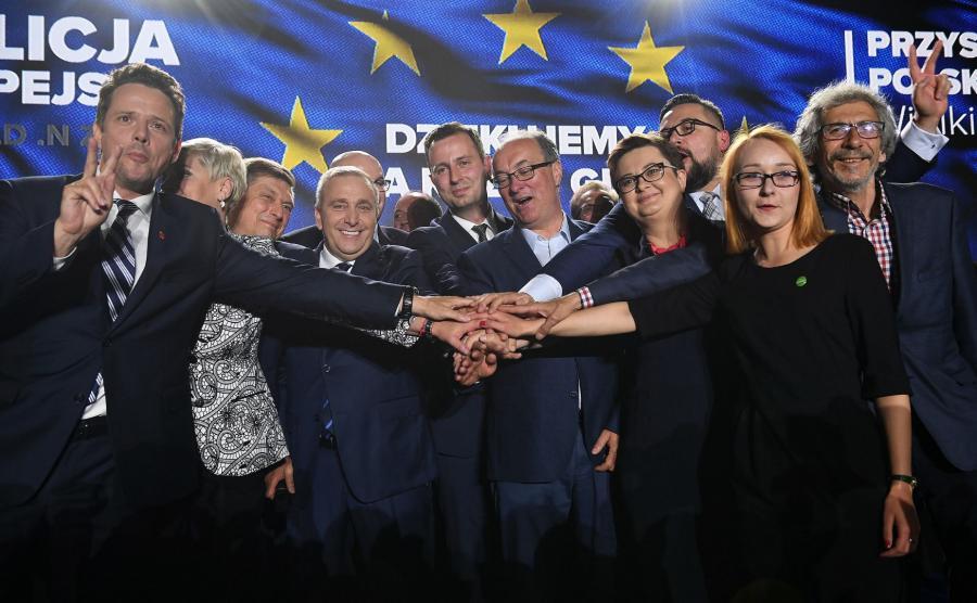 Politycy w sztabie Koalicji Europejskiej