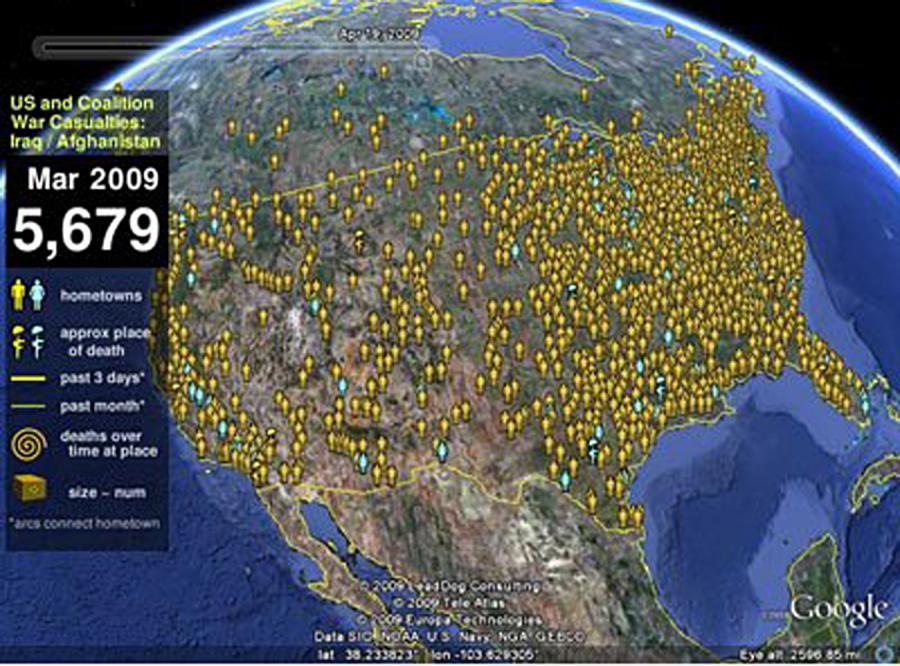 Zabici w Iraku i Afganistanie mają swoją mapę