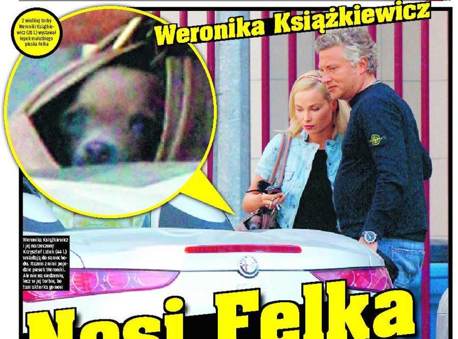 Książkiewicz nosi psa w torebce