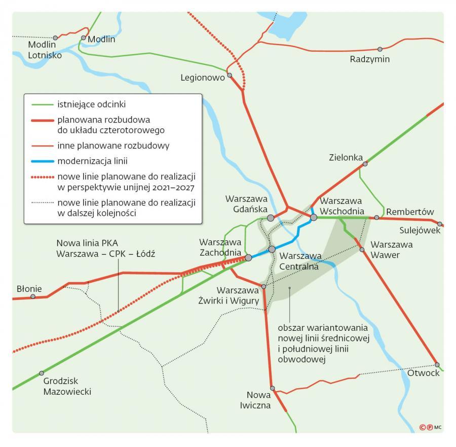 Mapa linii kolejowych