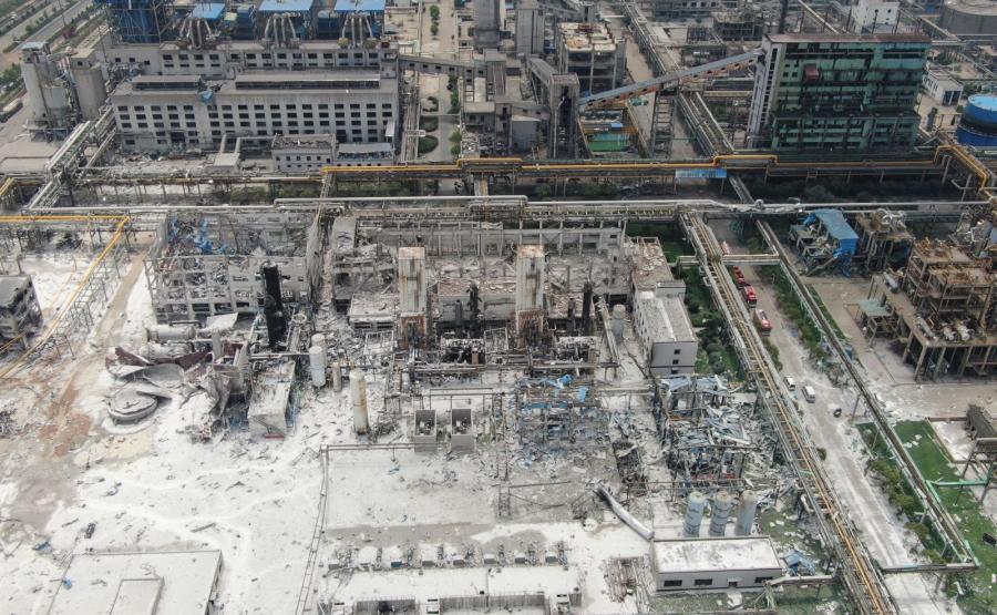 Fabryka w chińskim mieście Yima po wybuchu