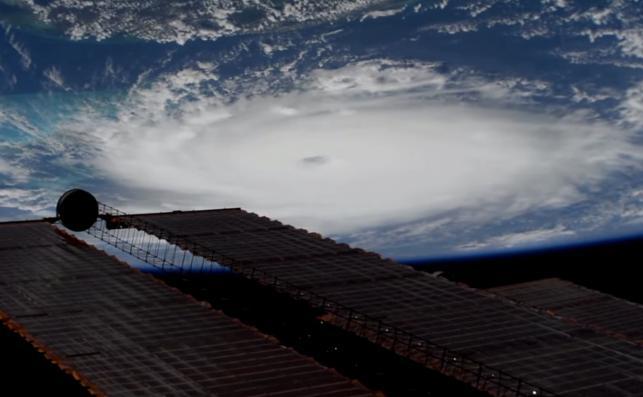 Zdjęcie Huraganu Dorian zrobione ze stacji kosmicznej