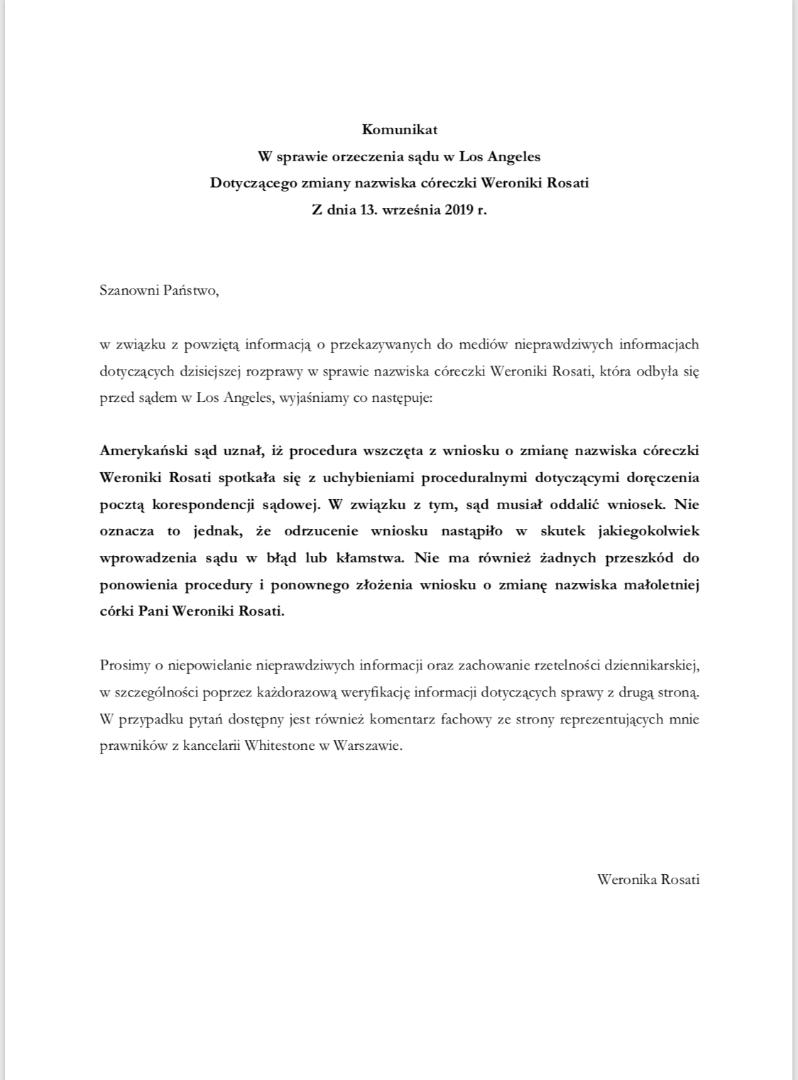 Oświadczenie Weronika Rosati