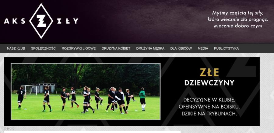 Zrzut ekranu witryny klubu AKS Zły