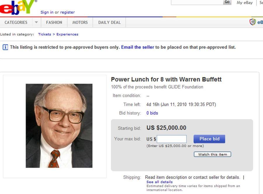 Lunch z miliarderem trafił na aukcję