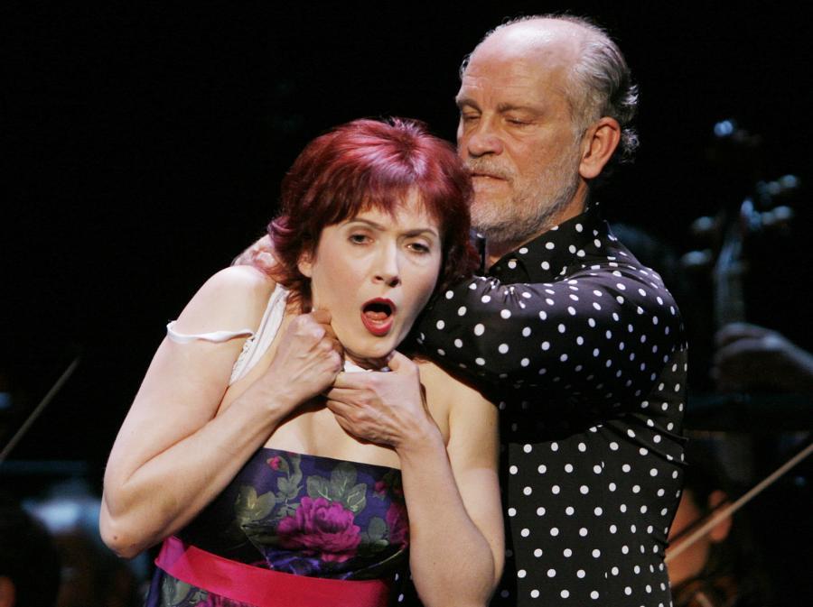 Aleksandra Zamojska i John Malkovich w spektaklu \