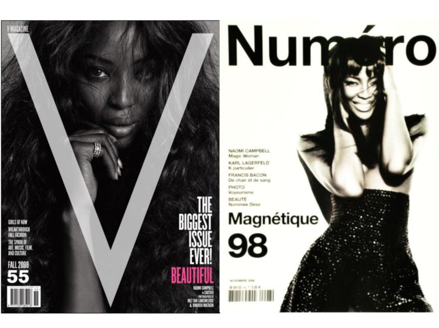 Naomi Campbell pojawiła się okładkach większości pism o modzie.