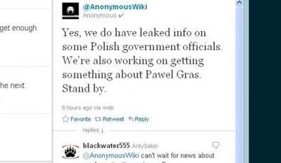 Anonymous na Twitterze o Pawle Grasiu