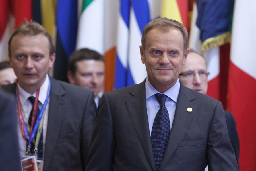 Premier Polski Donald Tusk na szczycie Unii Europejskiej w Brukseli