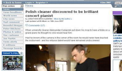 Sprzątacz z Polski robi karierę pianisty