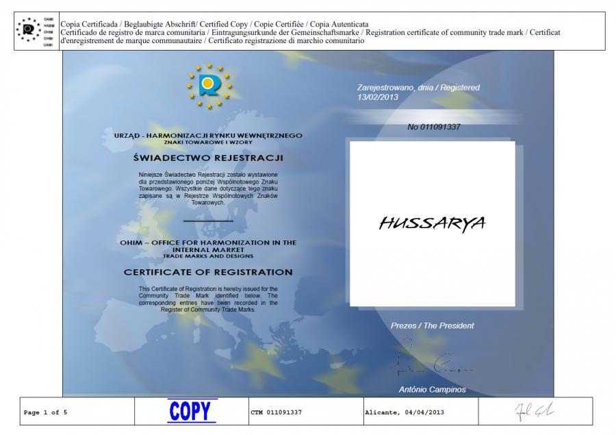 """Oficjalne potwierdzenie rejestracji znaku towarowego """"Hussarya"""""""