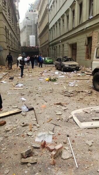 Po wybuchu gazu w Pradze. Fot. @digiolli