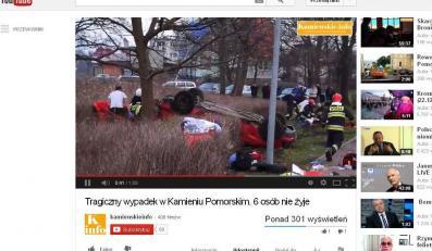Akcja ratownicza po wypadku w Kamieniu Pomorskim