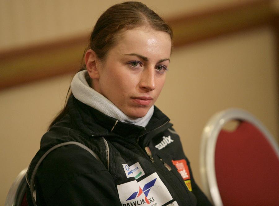 Justyna Kowalczyk na konferencji prasowej przed zawodami.