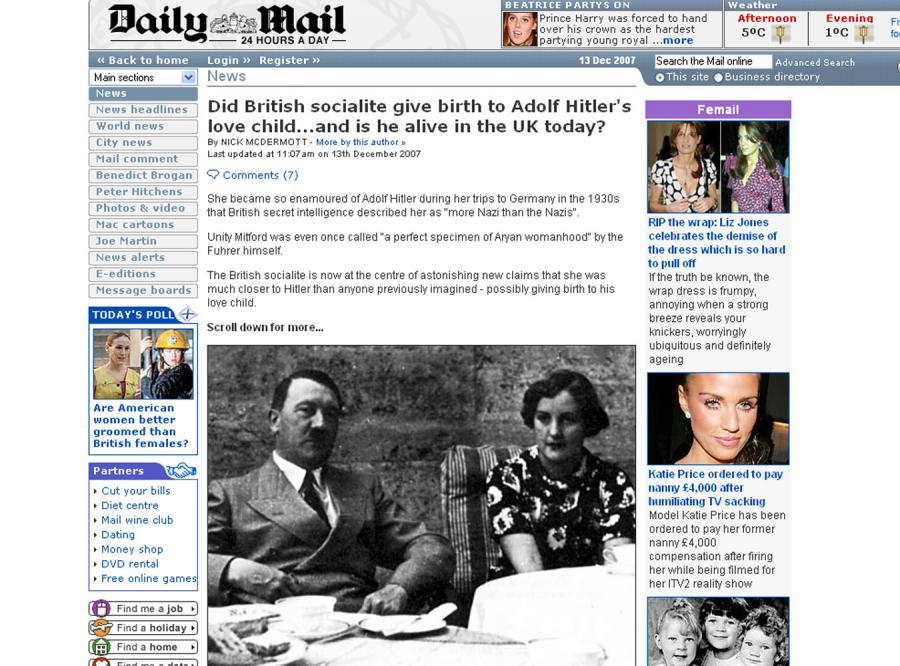 Według angielskiej prasy, Hitler miał dziecko z Brytyjką