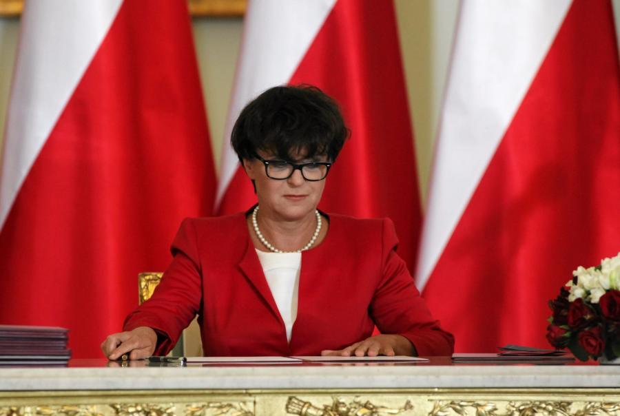 Minister edukacji Joanna Kluzik-Rostkowska podczas zaprzysiężenia nowego rządu premier Ewy Kopacz