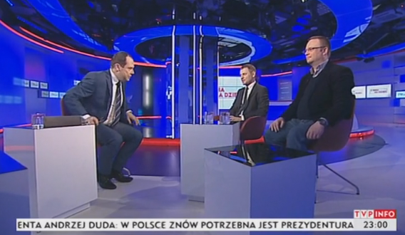 Jarosław Kulczycki i Łukasz Warzecha w studiu TVP Info