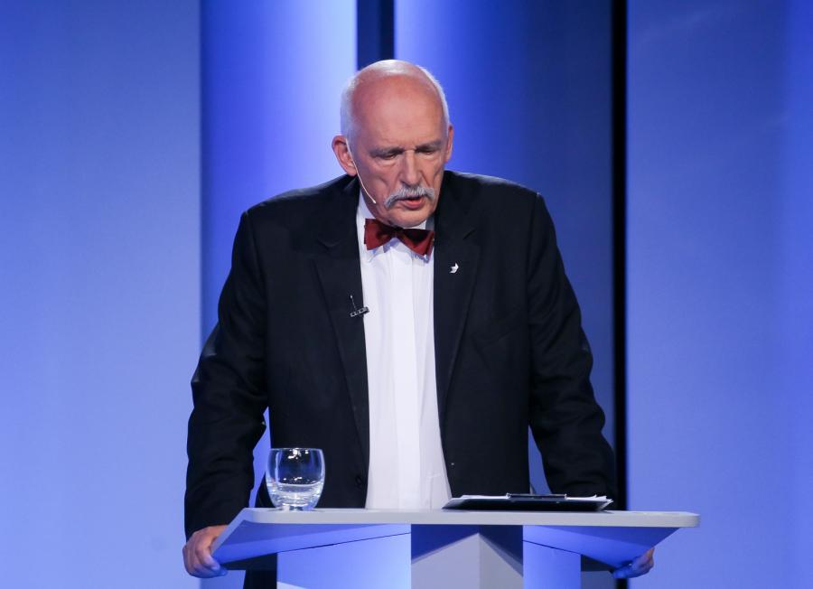 Janusz Korwin-Mikke w czasie debaty w TVP