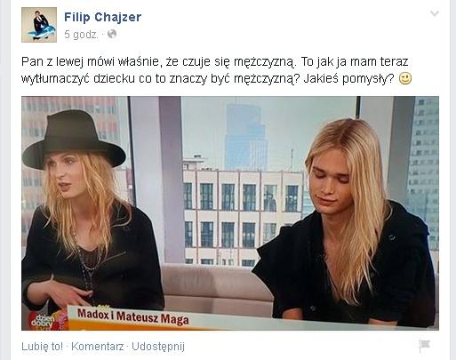 print screen z profilu Filipa Chajzera