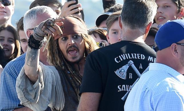 Johnny Depp jako Jack Sparrow w australijskim Brisbane