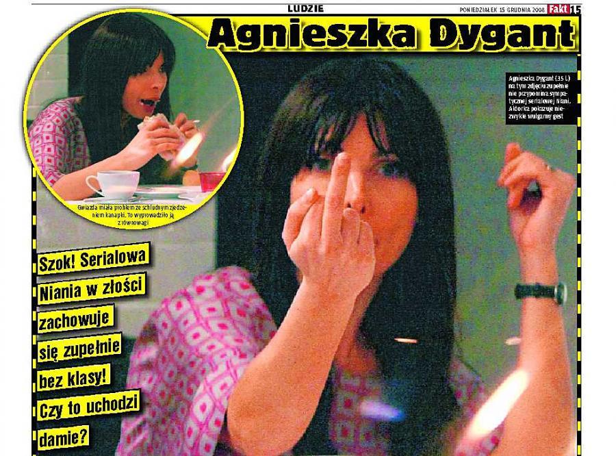 Agnieszka Dygant pokazuje środkowy palec