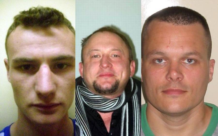 Uciekinierzy z więzienia w Grudziądzu: (od lewej) Piechocki Marcin, Śmiśniewicz Bartosz i Böttcher Robert