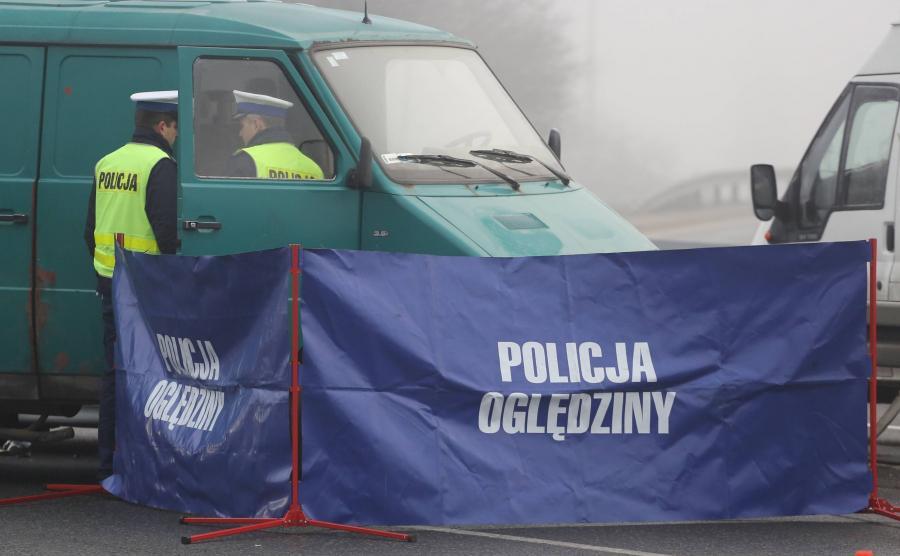 Policja na miejscu wypadku