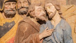 Judasz i Jezus. Fragment barokowego ołtarza w Bańskiej Szczawnica na Słowacji