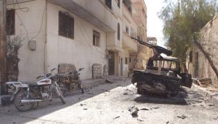 Spalony samochód ISIS w Palmirze