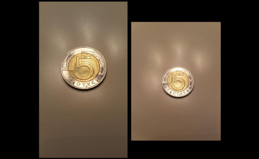 Zdjęcie monety - po lewej wykonane aparatem w telefonie Samsung Galaxy S6, po prawej - S7