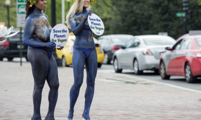 Co za poświęcenie! Aktywistki PETA wyszły nago na ulicę z okazji Dnia Ziemi. FOTO
