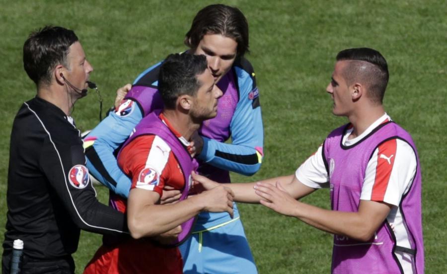 Nerwowe reakcje szwajcarskich piłkarzy