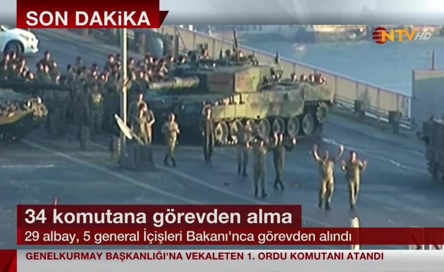 Żołnierze kapitulują na moście nad Bosforem