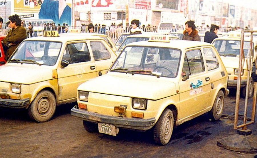 Fiaty 126p w wersji TAXI w mieście Wengzhou