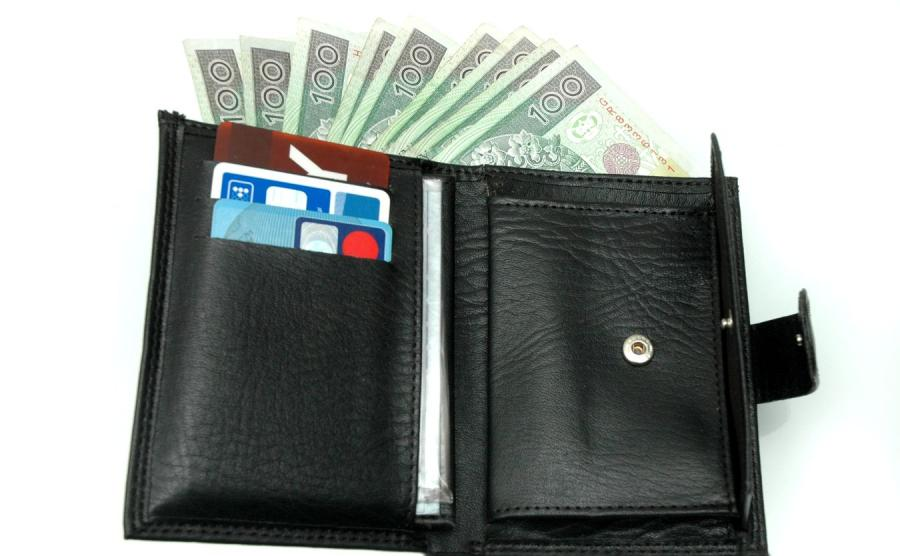 Portfel z pieniędzmi i kartami