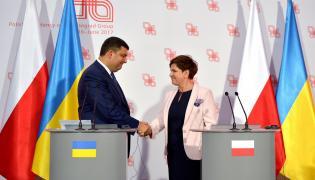Wołodymyr Hrojsman i Beata Szydło