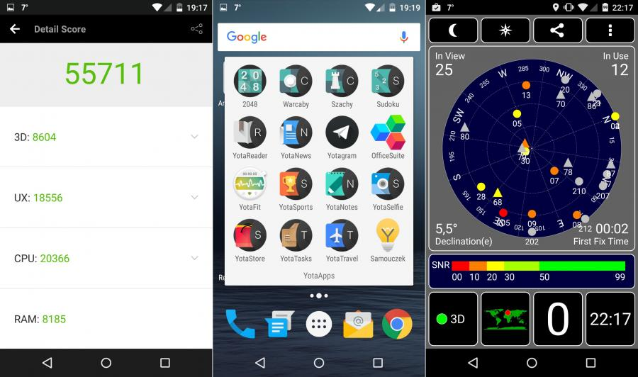 Wynik w AnTuTu Benchmark, pulpit, działanie GPS w telefonie Yotaphone 2