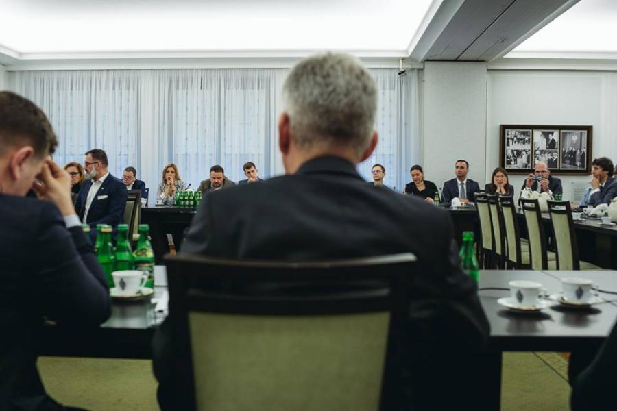 Dziennikarze na spotkaniu z marszałkiem Senatu Stanisławem Karczewskim